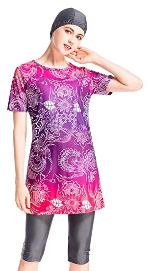 5da641b62fb8a Ababalaya Womens  Modest Muslim Islamic Short Sleeve Print Burkini Swimsuit  with Swimming Cap  Amazon.co.uk  Clothing