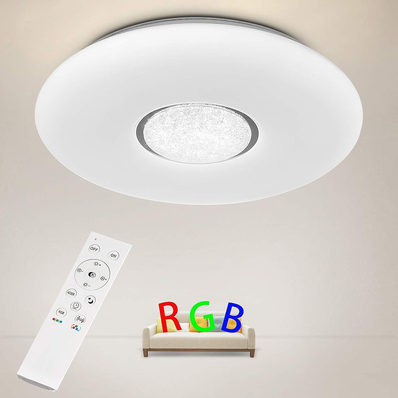 Anten Deckenleuchte 36W   Deckenlampe LED Farbwechsel dimmbar 3000K-6500K    Ø41x7cm rund RGB Deckenleuchten bunt mit Fernbedienung für moderne Wohnzimmer