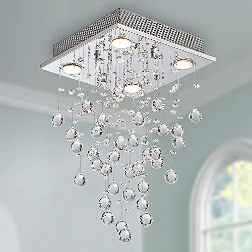 Bestier Modern Crystal Square Raindrop Chandelier Lighting Flush Mount LED Ceiling Light Fixture Pendant Lamp