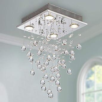 Moderne Kristall Regentropfen Kronleuchter Beleuchtung Unterputz LED  Deckenleuchte Leuchte Pendelleuchte für Esszimmer Badezimmer 4 GU10 LED  Birnen ...