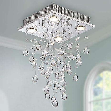 Cristal moderno Raindrop Araña Iluminación Montaje empotrado Lámpara de techo de techo Lámpara colgante para el comedor Cuarto de baño Dormitorio Sala ...