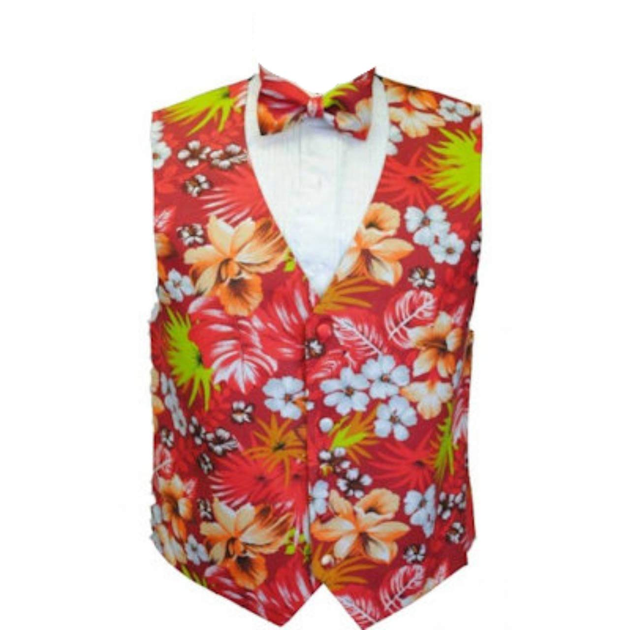 Red Hawaiin Floral Tuxedo Vest and Bow Tie