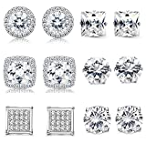 Thunaraz 6Pairs Halo Stud Earrings Round Square Brillant Cut Earrings with Gift Box (B:6Pairs)