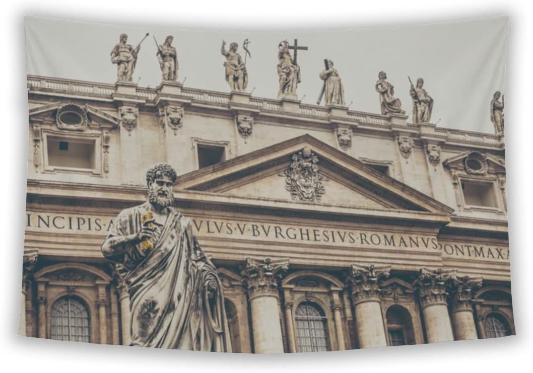 Gear New Wall Tapestry for Bedroom Hanging Art Decor College Dorm Bohemian, Saint Peter Sculpture Vatican City Square Front Basilicfade, 104×88