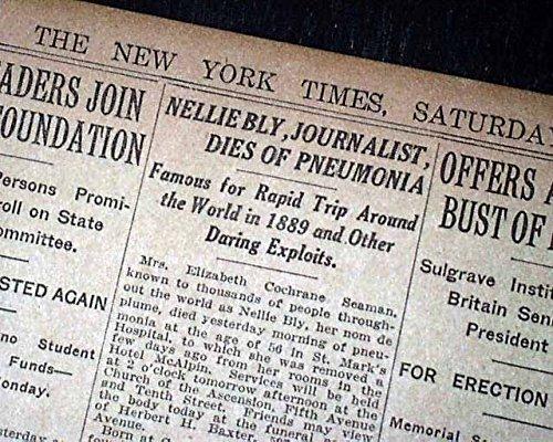 NELLIE BLY Elizabeth Jane Cochrane New York Journalist DEATH 1922 NYC Newspaper THE NEW YORK TIMES, January 28, 1922