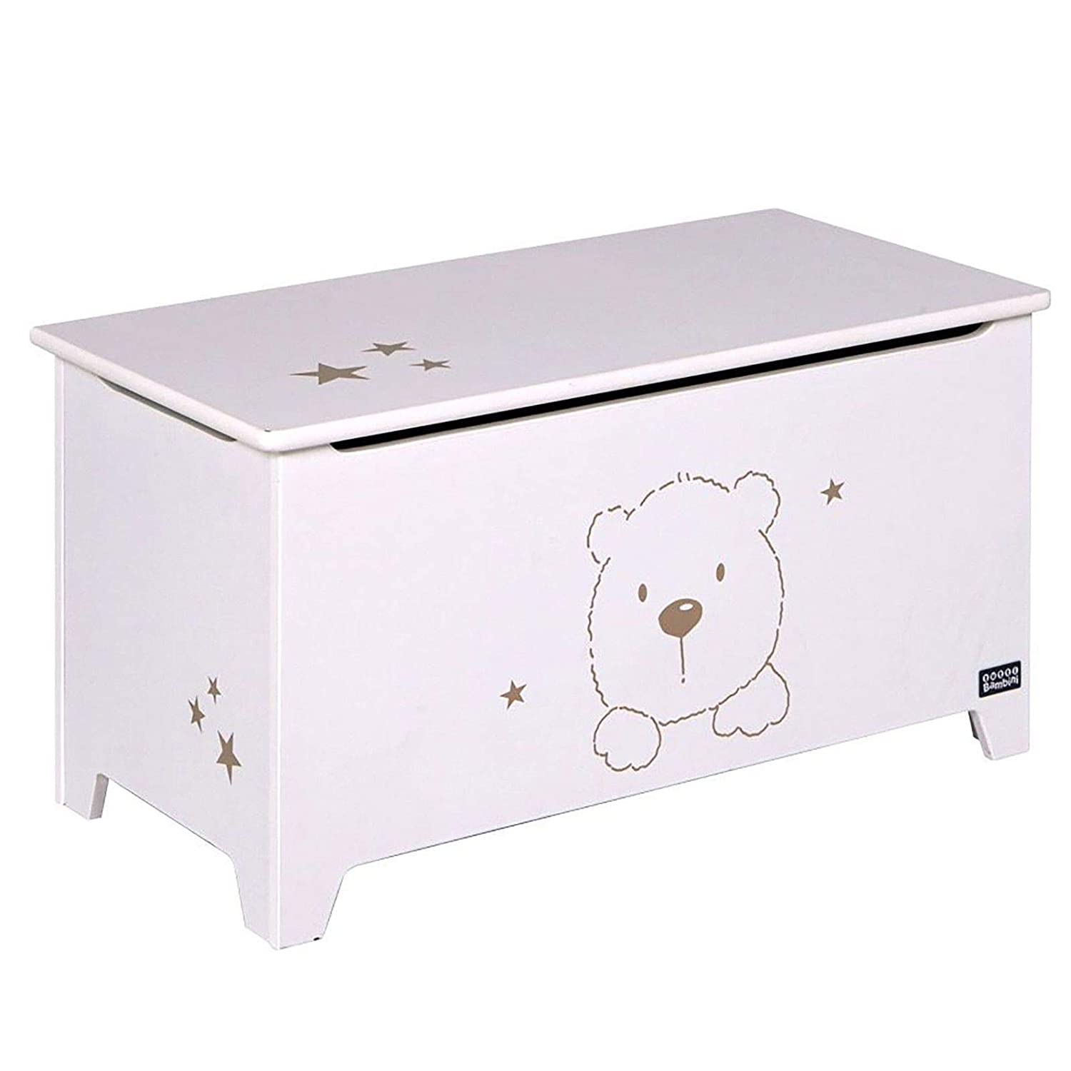 Tutti Bambini 3 Bears Nursery/Bedroom/Playroom Furniture Toy Box & Seat - Beech/White