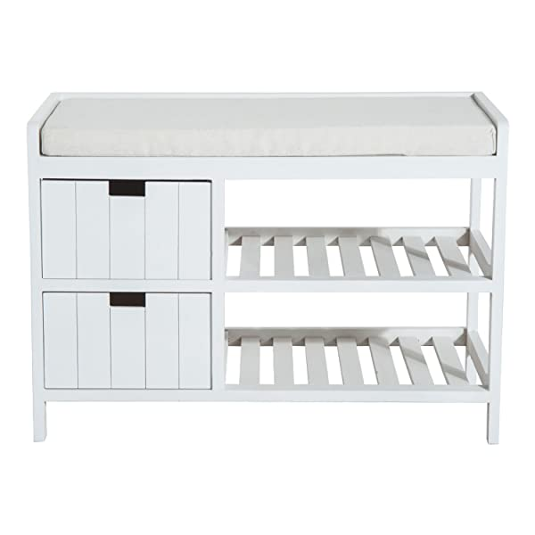 HOMCOM Compact Rustic Padded Wooden Shoe Rack Bench Organizer with Drawers - Country White