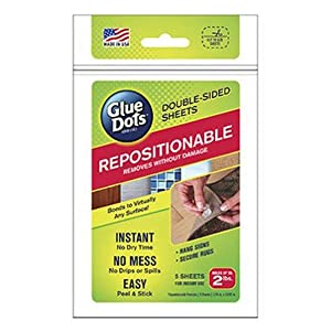 Glue Dots Repositionable Adhesive Sheets, Double Sided, Temporary Bond, 5 Sheets (37010), Clear