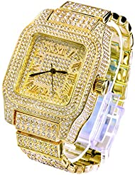 Mens Hip Hop Luxury Iced Out Techno Pave Watch Gold Tone Heavy Bezel Case Band Simulated Diamond 7967 G