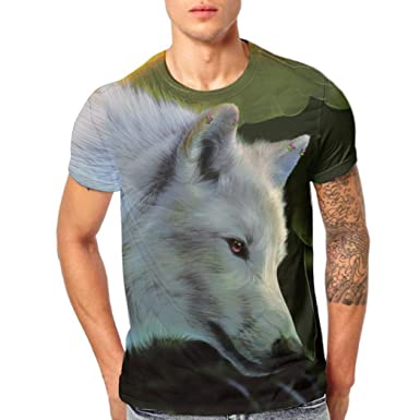 d5bad922 KPILP Mens Wolf 3D Printing Tees Shirt Short Sleeve T-Shirt Pullover:  Amazon.co.uk: Clothing