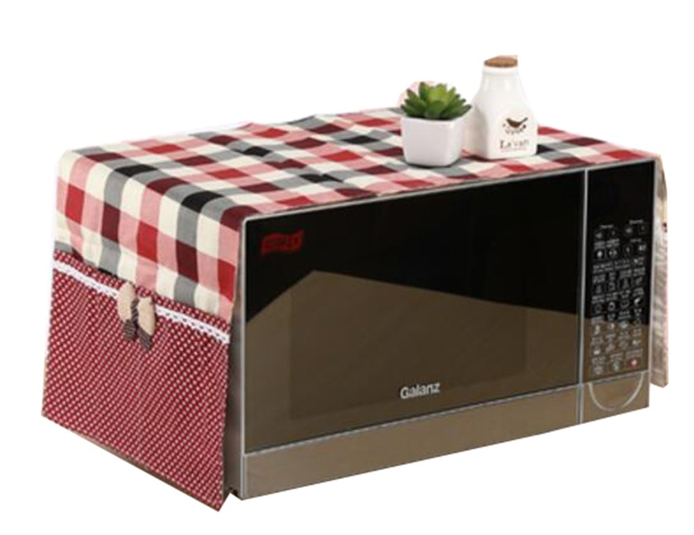 Country Style Microwave Oven Dustproof Cover Microwave Protector -Lattice