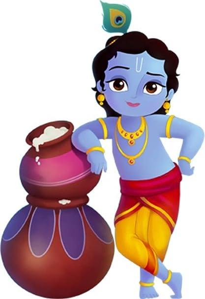 Buy D Y Lord Krishna Cartoon Wall Sticker 60 X 50cm Online At Low
