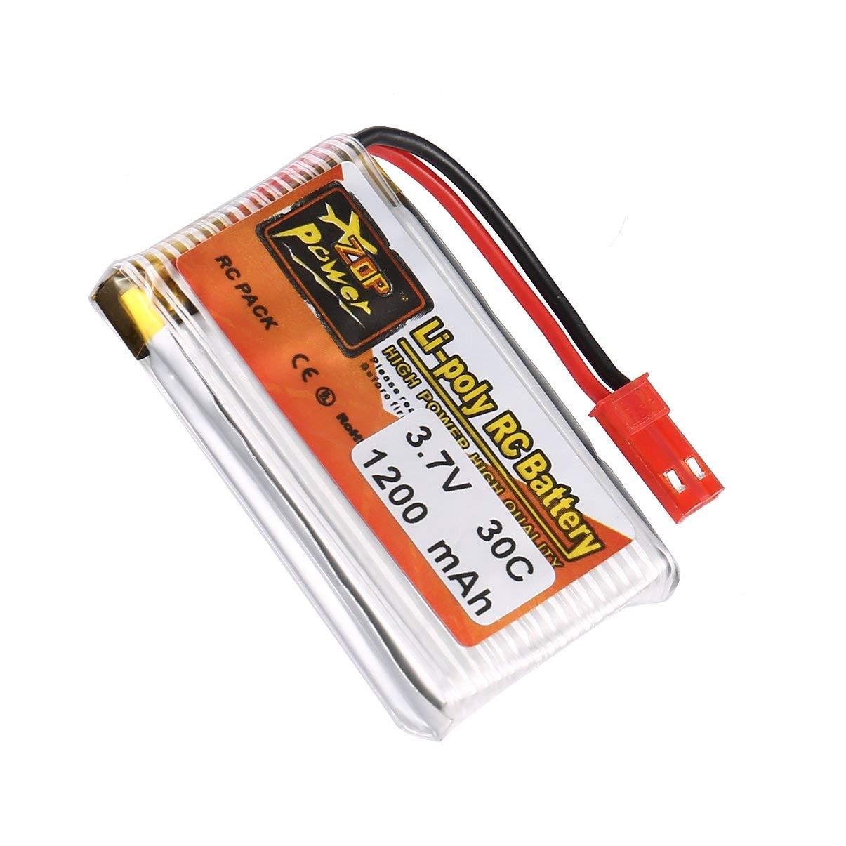 JullyeleFRgant 6Pcs ZOP Puissance 3.7V 1200mAh 30C 1S JST Plug Batterie Lipo Rechargeable avec 6 en 1 Batterie USB Chargeur pour RC Racing Drone Car