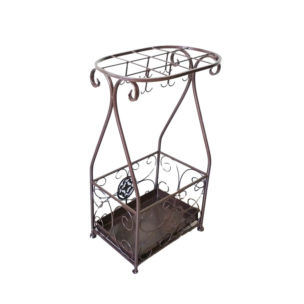 Chestnut colour JKL Simple and Creative Umbrella Stand Bucket Storage Shelf,Multifunction Storage (color   Black)