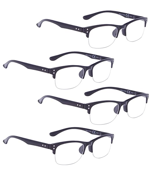 7796e74fbf Amazon.com  READING GLASSES 4 pack Plastic Half-rim Readers (Black ...