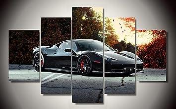 Black Ferrari 458 Italia Exotic Supercar Sports Car Race Italian Car Canvas  Prints Picture Painting Framed