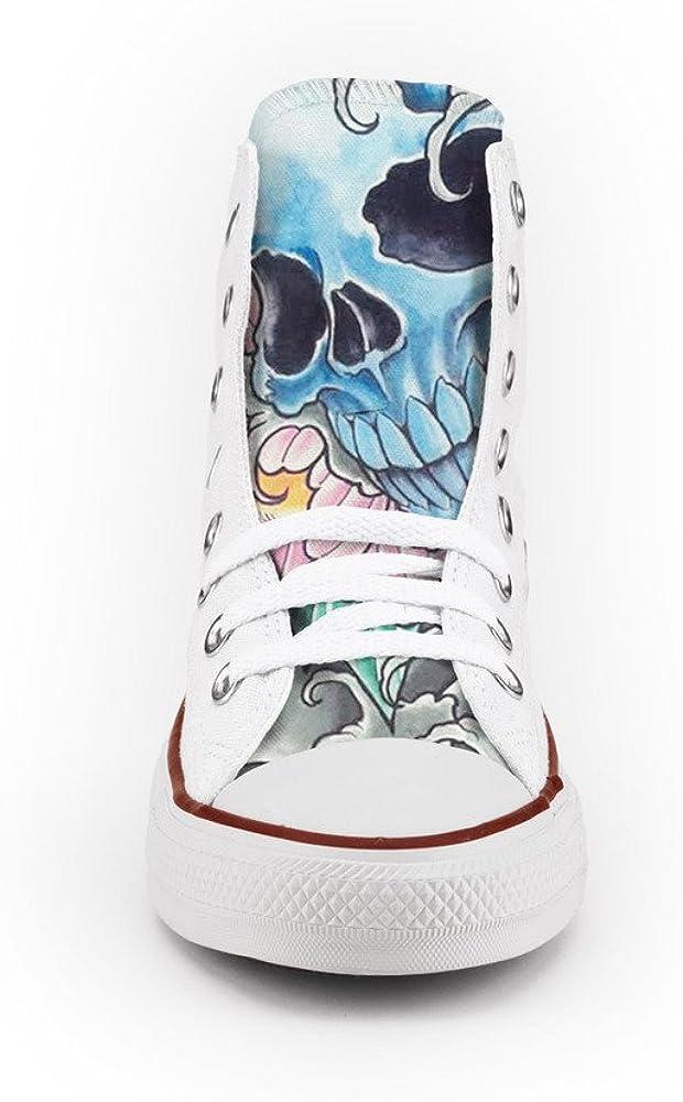 21 Shoes Converse All Star Personnalisé et imprimés Chaussures à la Main Skull