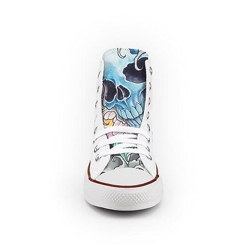 058ab9ea7c033 Converse Personalizzate All Star Alta - scarpe artigianali - stampa vintage  Skull  Amazon.it  Scarpe e borse