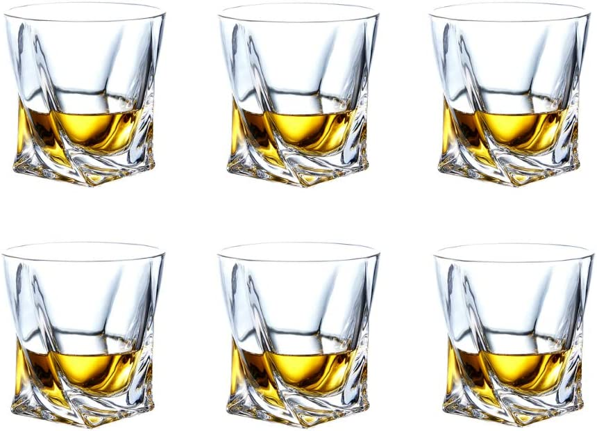 Crystal Whiskey Glasses-Premium 10 OZ Scotch Glasses Set of 6 /Old Fashioned Whiskey Glasses/Gift for Scotch Lovers/Style Glassware for Bourbon/Rum glasses/Bar Tumbler Whiskey Glasses
