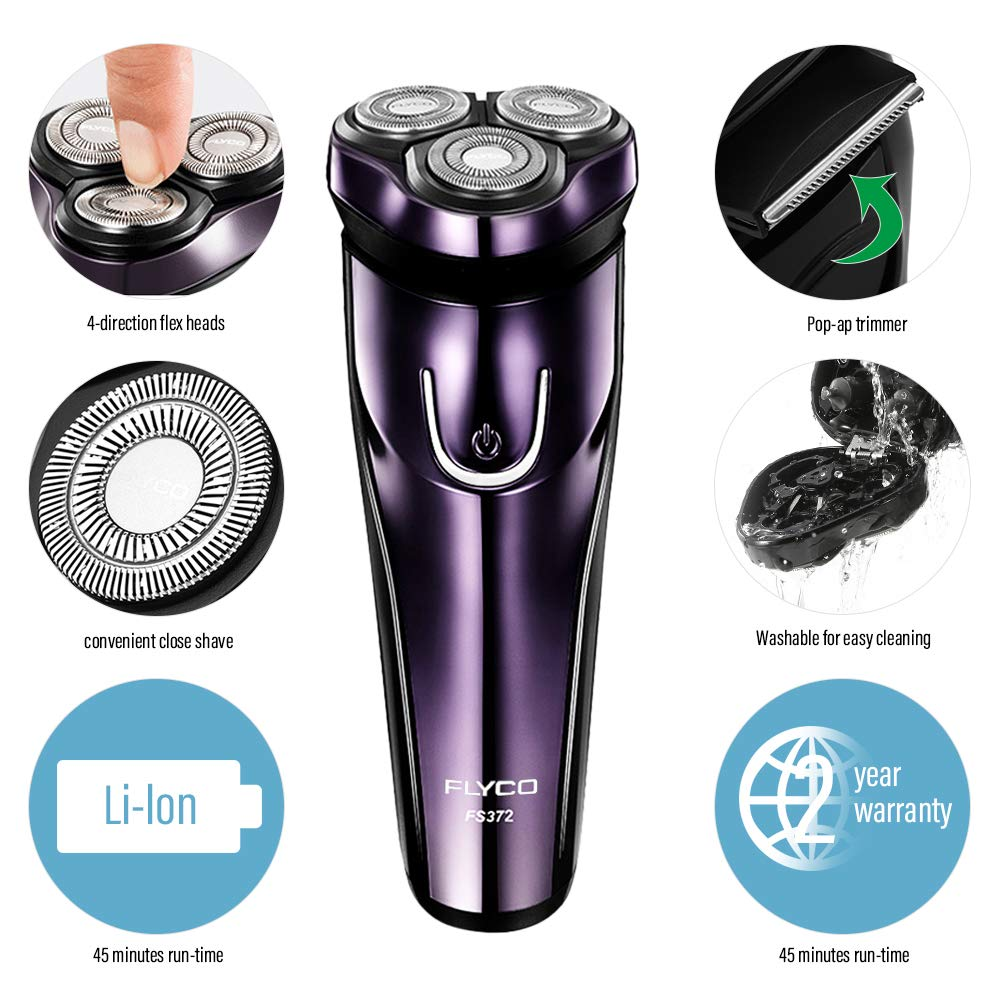 Cordless Men's Electric Razor, Wet & Dry Rechargeable Shaver With Pop-up Trimmer - Purple