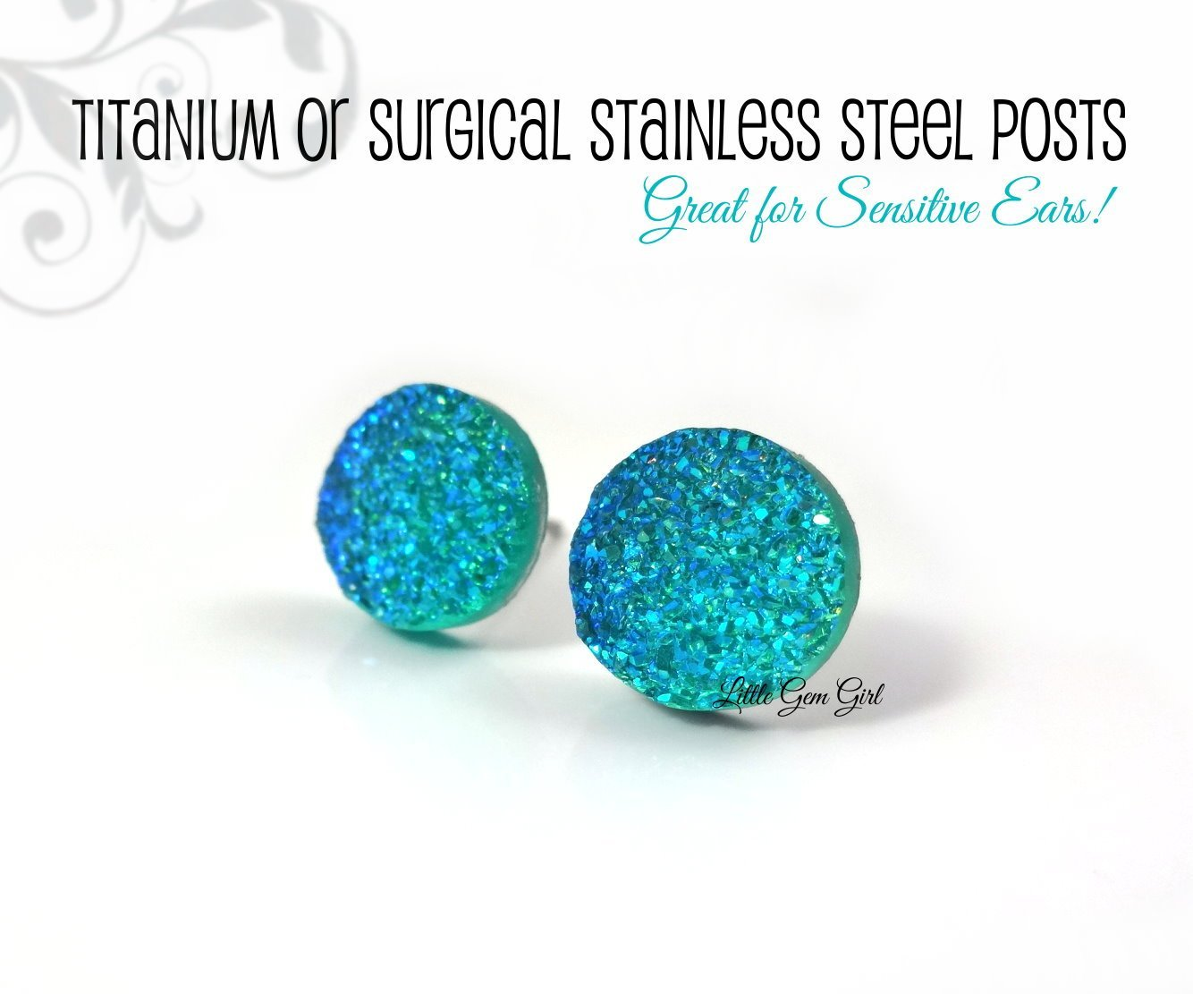 7274b21bb 10mm Aqua Blue Color Changing Faux Druzy Studs - Small Blue Glitter Studs -  Titanium or Surgical Stainless Steel Posts Nickel Free for Sensitive Ears  ...