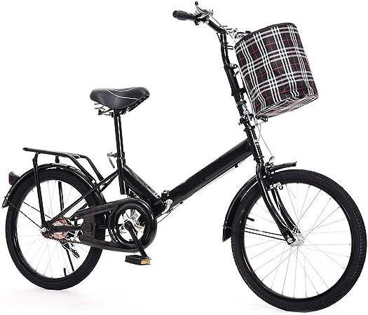 TXTC La Absorción De Choque Bici Plegable con Cesta De Bicicleta Mujer De Bicicletas, Los Viajeros Portátil De Bici For Las Mujeres Urbanas For Adultos (Color : Black, Size : 20in): Amazon.es: