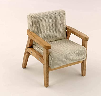 1:12 Dollhouse Miniature Furniture Wood Handmade Single Sofa Chair In Red  Stripe For Doll Couch Model Set Simple Style