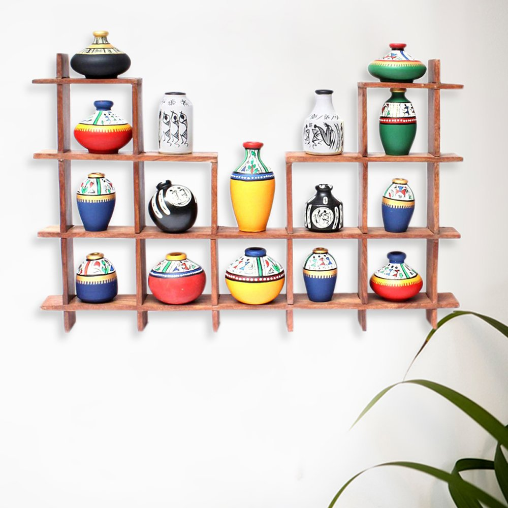 ExclusiveLane 16 Terracotta Warli Handpainted Pots With Sheesham Wooden Frame Wall Hanging-Wooden Wall Décor Art Decorative Shelves Vases Home Décor
