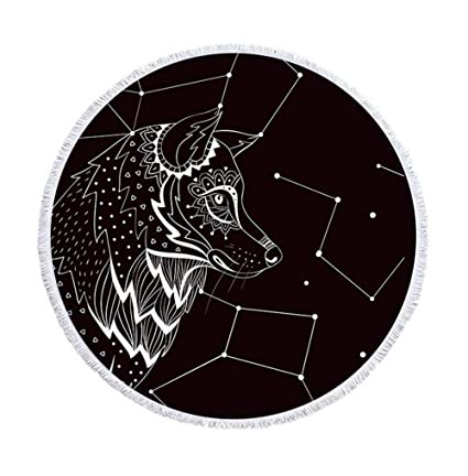 Blanco y Negro Tribu Wolf playa redondas Topo con borlas alta ethnisch geométrica estrellas Atlas redondas