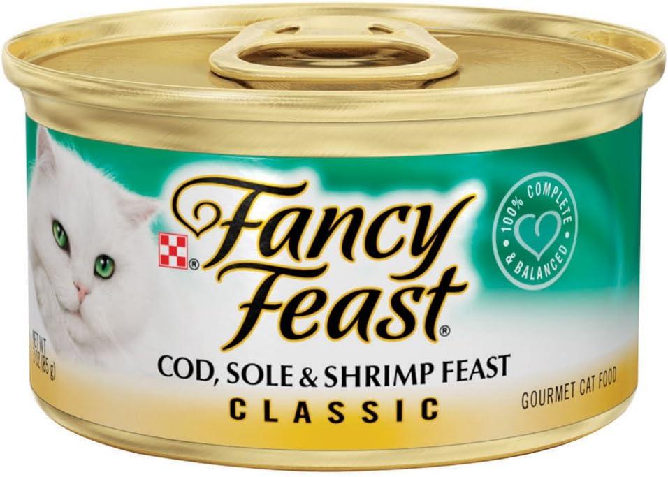 Fancy Feast Classic Cod, Sole & Shrimp Feast Cat Food, 3 oz, 12 Cans