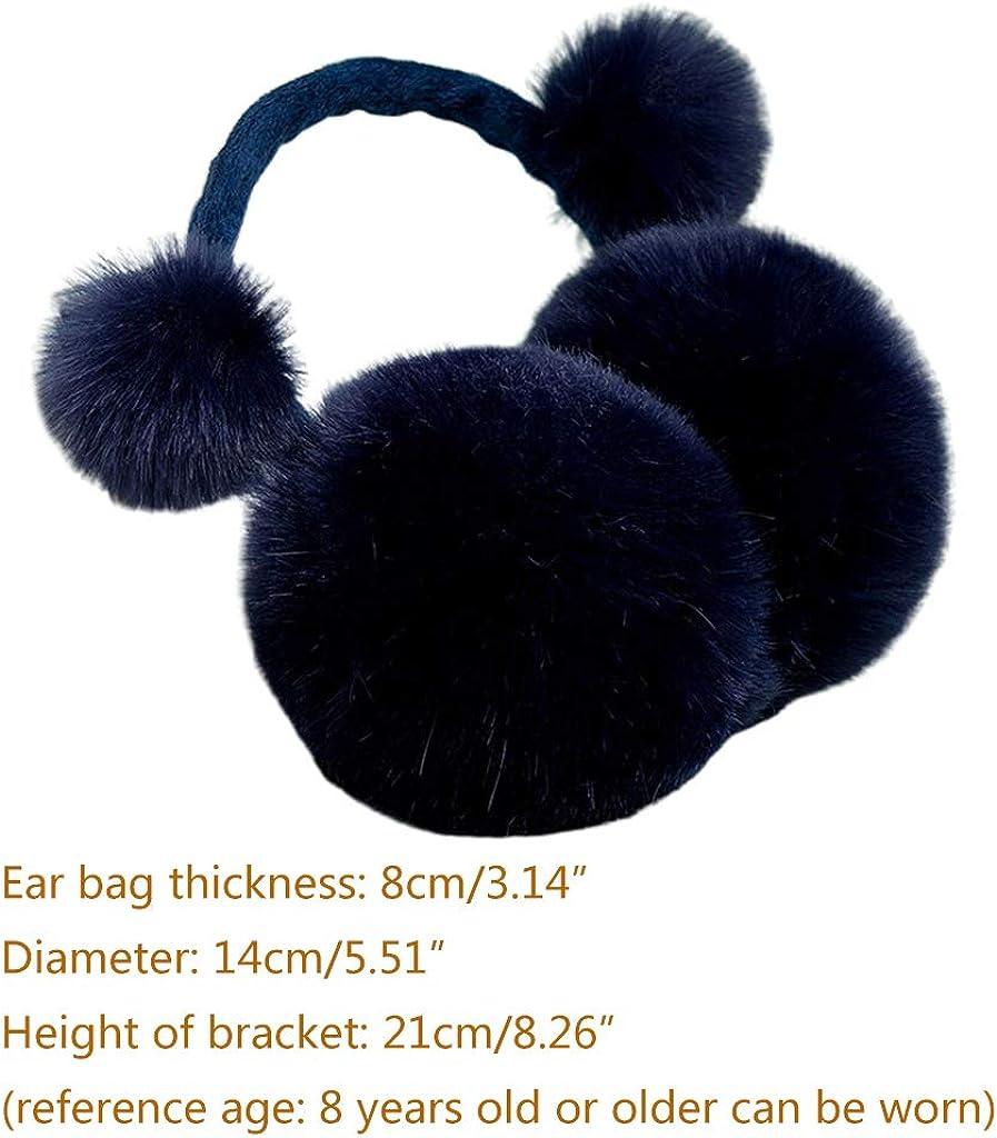 DUDU-PALY Kids Winter Cute Pompom Earmuffs Foldable Solid Color Ear Cover Warmer Headband