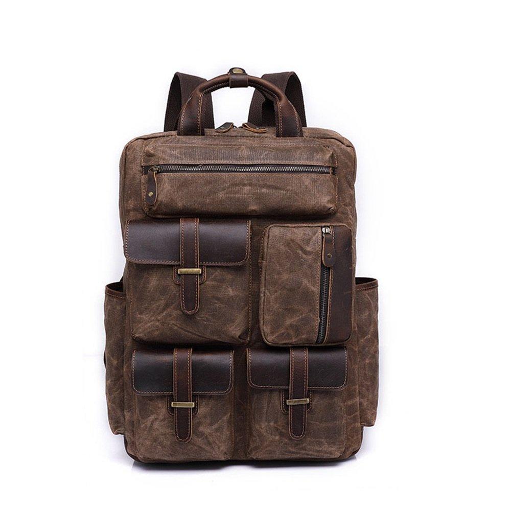 キャンバスバックパック メンズ/レディースバックパックデイパックビンテージ防水ジッパーキャンバスコマース学生アウトドアショッピング (色 : 褐色)  褐色 B07KW7QKNG