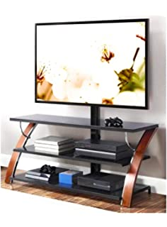 Whalen Weathered Dark Pine Finish Rear Support Column Cable Management Wheels 2 Shelf TV Stand with Mount for TVs up to 50
