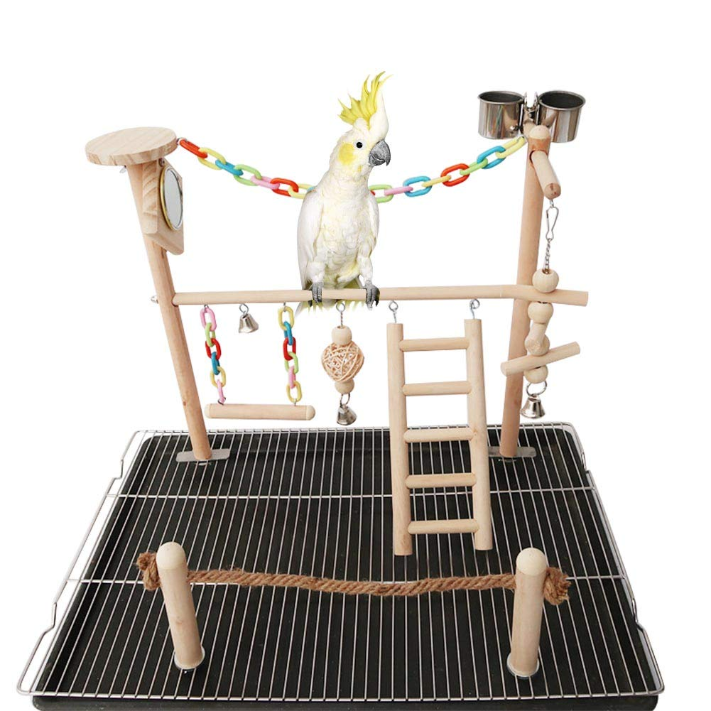 Adnikia Bird Cage Play Stand Toy Set, Bird Playground Gym Hanging Chewing Toys Ladder Swing Accessories for Conure, Parakeets, Budgie, Cockatiels, Lovebirds, Parrot Wood Perch Cage Toys by Adnikia