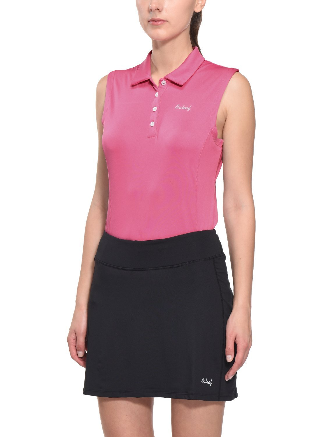 Baleaf Women's Golf Tennis Sleeveless Polo Shirts Quick Dry UPF 50+ Pink Size S by Baleaf