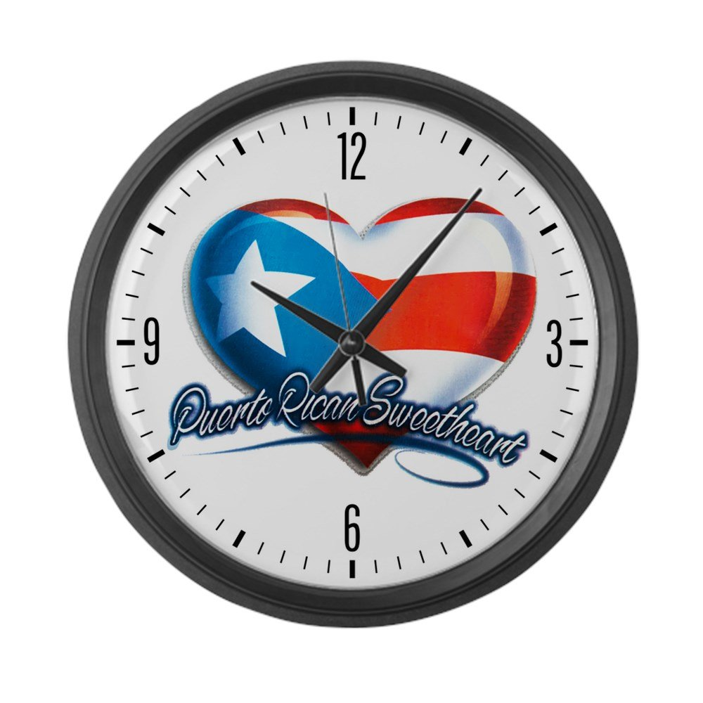 Large Wall Clock Puerto Rican Sweetheart Rico Flag by Royal Lion