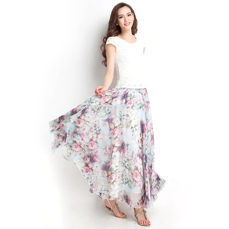 ONEWORLD Fashion Women Gypsy Bohemian Full Maxi Long Printed Chiffon Pleated Skirt