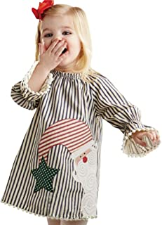 K-youth® Niños Año Bebe Niño Ropa Bebe Niña Invierno Papá Noel Rayas Manga Larga Vestido Navidad K-youth®
