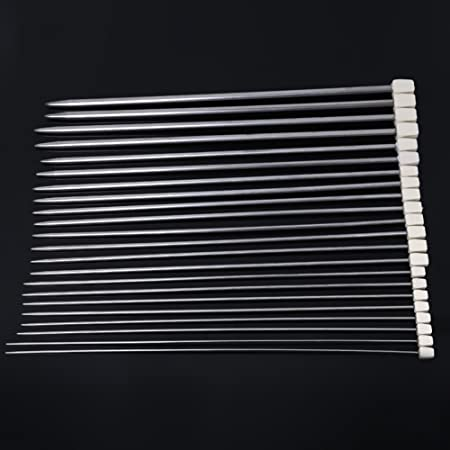 Whitelotous 22pcs Stainless Single Pointed Knitting Needles 11Sizes 10 25cm 2.0mm-8.0mm