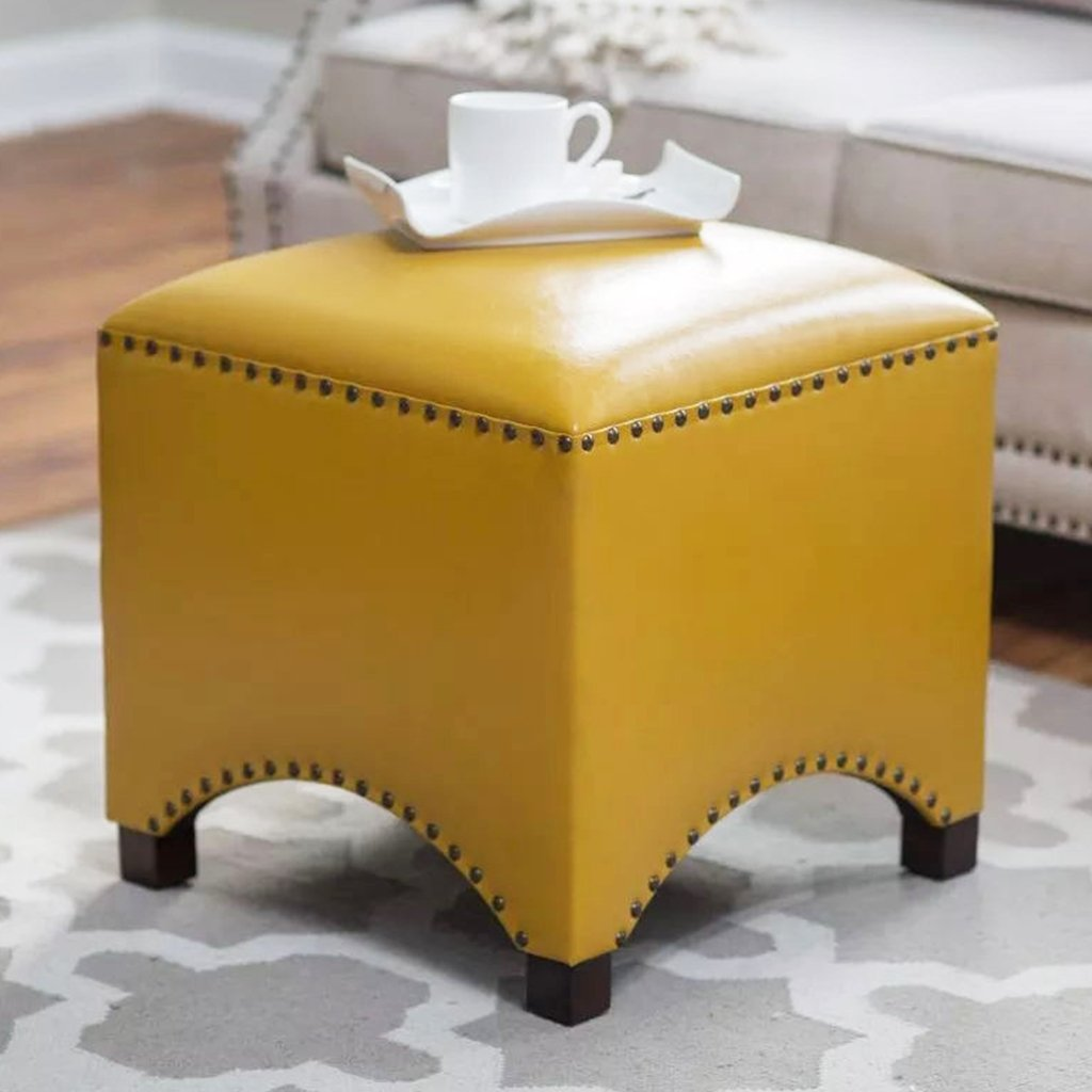 UUSSHOP Wood Seating Footstool Footrest Ottoman Pouffe Square Chair Foot Stool with Luxury Oil Wax Leather Cover, Handcrafted Rivets Edge-Sealing (Yellow)