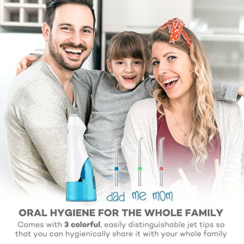 VAVA Water Dental Flosser for Whole Family, 220ML Capacity Removes 99.9% of Plaque, Debris & Tartar, Rechargable Cordless Oral Irrigator (3 Water Pressure Modes, 3 Jet Tips, FDA Approved, IPX7 Waterpr by VAVA (Image #3)