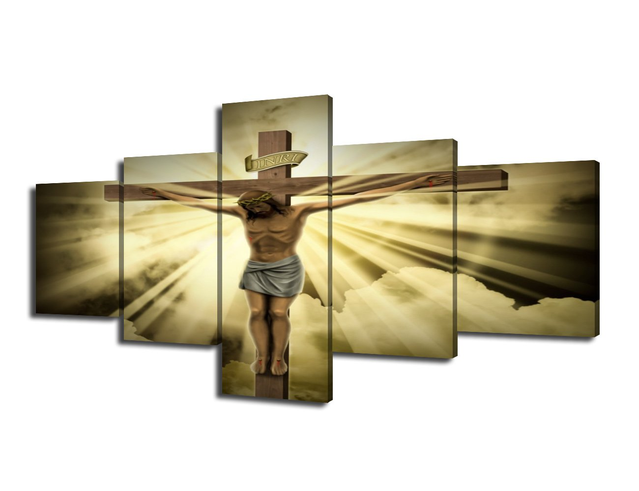 Amazon.com: Jesus Christ on the Cross with Clouds Canvas Wall Art ...