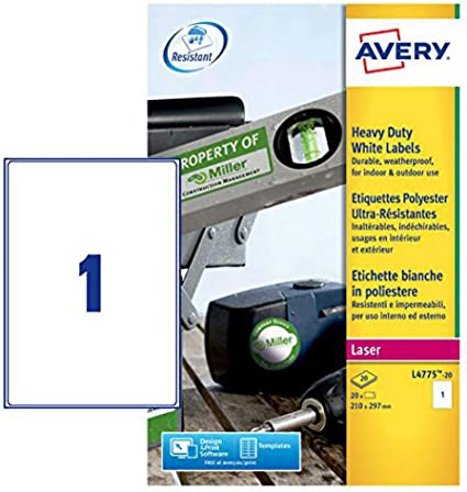 Avery España L4775-20-Etiquetas blancas resistentes al agua, imprimibles 210x297mm, caja 20 etiquetas: Amazon.es: Oficina y papelería