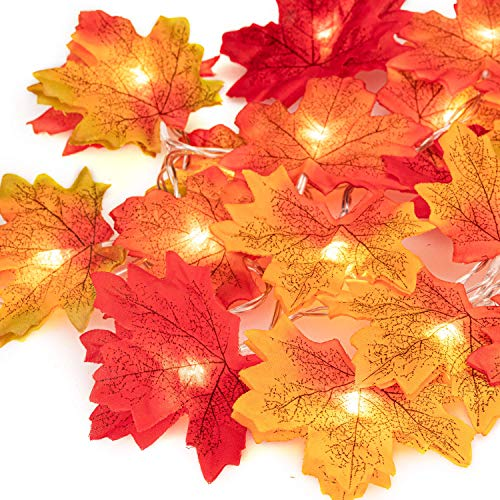 UNEEDE Fall Decor Maple Leaves String Light, Waterproof Thanksgiving Decorations Fall Seasonal Lights 3AA Battery Powered Lighted Garland for Holiday Party Indoor Outdoor Halloween Thanksgiving Decor (Outdoor Party Fall)