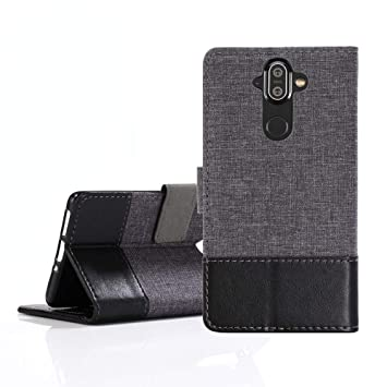 Nokia 8 Sirocco Texture Pro Leather Stand Case cover- Grey
