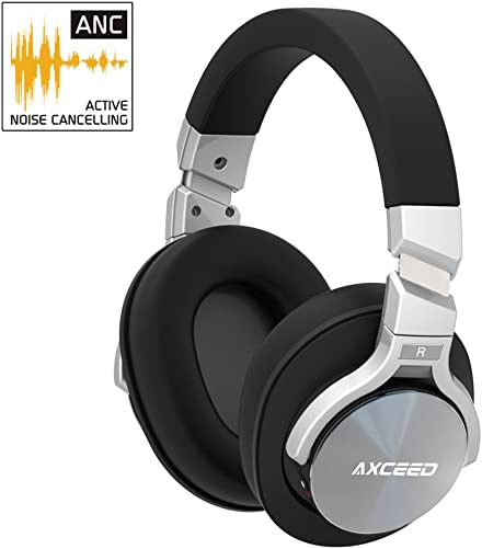 COSROLE Active Noise Cancelling Headphone, Bluetooth 4.1 Hi-Fi 3D Stereo Over-Ear Wireless Headsets Foldable Earphone Travel Headphone with Microphone Detachable Cable for Travel, TV, PC