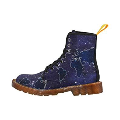 Shoes World Map Space Stars Lace Up Martin Boots For Women