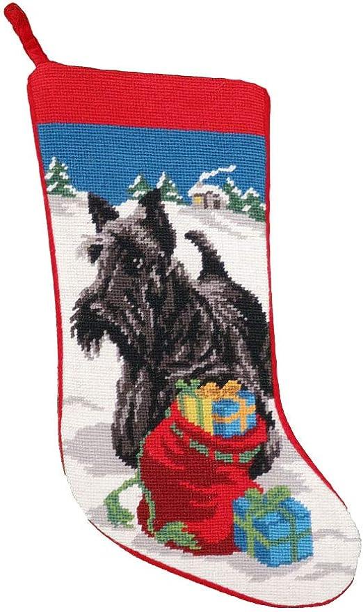 Christmas Scotty dog stocking sock
