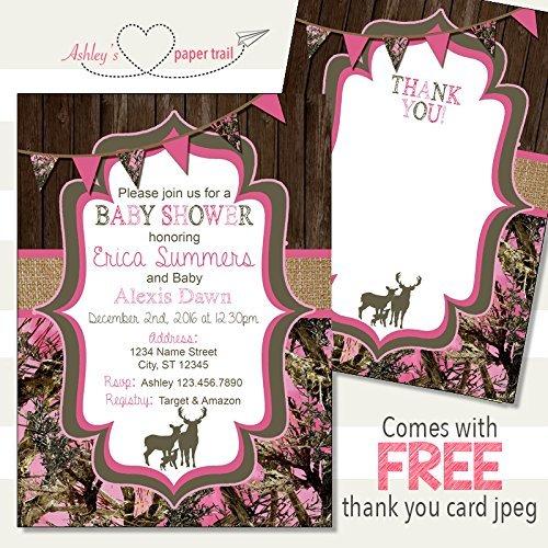 Amazon Girls Pink Camo Baby Shower Invitation Digital File