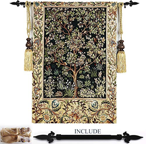 MAGCOLOR Classic Wall Tapestry Inclued Rod & Tassels Tiebacks - Woven Tapestry Wall Art Hanging for Living Room & Office Decor - Tree of Life Umber by William Morris - - Art Rods Hanging Wall Fine